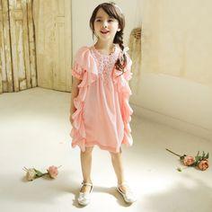 Daphne Ruffle Dress - Pink, Cream