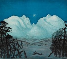 "la-belle-epoche: "" Harald Sohlberg (Norwegian, Vinternatt i Rondane (Winter Night in Rondane), 1917 Colour lithograph mounted on cardboard gwpa. Mountain Landscape, Landscape Art, Landscape Paintings, Landscapes, Nocturne, Nordic Lights, Painting Snow, Japanese Aesthetic, Scandinavian Art"
