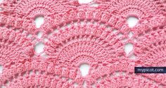 Free crochet patterns Lace shell with popcorn stitch - tutorial