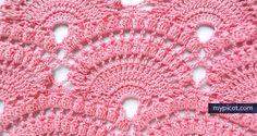 Free crochet patterns Lace shell with popcorn stitch - tutorial~k8~