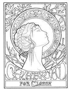 kleurplaat jugendstil ladies colouring pictures art nouveau - Art Nouveau Unicorn Coloring Pages