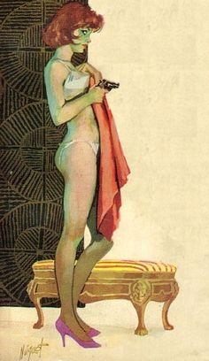 """Ilustración en la concepción de Noiquet, en favor de la novela """"Second String"""" by Hank Janson (1963)."""