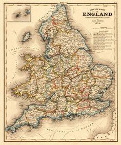 "England Map - United Kingdom Map - Antique Map of UK -  Retro Art - 12"" X 10"" Print. €12.00, via Etsy."