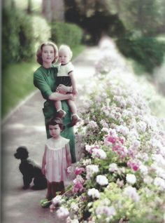 Princess Grace with her children, Princess Caroline and Prince Albert,  and her poodle Oliver.