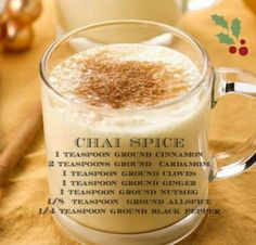 "Chai Spice Blend / use in Eggnog Smoothie. ""I tried something else for easy way to make Chai tea. I make chia pudding often. I just put 2 tsp of vanilla coconut milk chia pudding in a cup, then about 1/4 tsp of chai spice, then hot water, tinch of cream if you like that and  honey. It's so good, good for calming too! Tastes like chai."