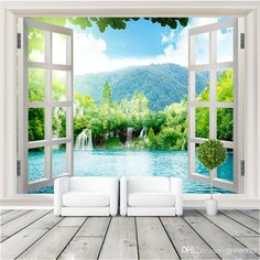 Window 3D waterfalls Forest View Wall Stickers art Mural Decal Wallpaper Living Bedroom Hallway Childrens Rooms free shipping
