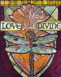 Veronique Godbout. Dragonfly Sacred Heart Love Divine Art Print, Home Decor, 8x10 Paper Illustration Flaming Heart, Divine Love Dragonfly Paper Artwork.