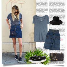 Button Skirt by gabriela2105 on Polyvore featuring moda, Velvet, Superga, Forever 21, denimskirt, superga and buttonskirt