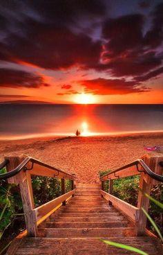 Stairway To Heaven Maui Beach Landskap Fotografi Beautiful Sunset, Beautiful Beaches, Beautiful World, Beautiful Gorgeous, Stairway To Heaven, Landscape Photography, Nature Photography, Adventure Photography, Amazing Photography