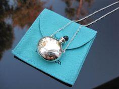 Tiffany & Co Silver Peretti Bottle Jade Jar Urn Vessel Perfume Pendant Necklace!