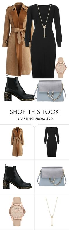 """""""dress with ankle bootie and coats"""" by voicu-ana ❤ liked on Polyvore featuring Chicwish, Zoe Vine, Miu Miu, Chloé, Burberry and EF Collection"""