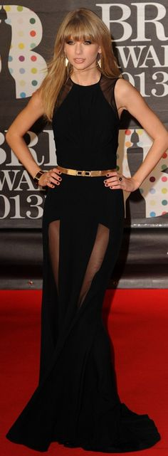 Taylor Swift in  Elie Saab at 2013 Brit Awards