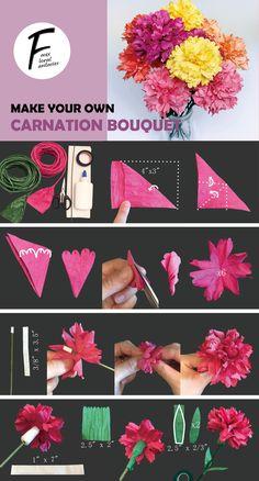 Tissue Paper Flower Diy, Paper Bouquet Diy, Flower Bouquet Diy, Diy Flowers, Flower Crafts Kids, Paper Flowers For Kids, Paper Crafts Origami, Diy Paper, Origami Flowers Tutorial