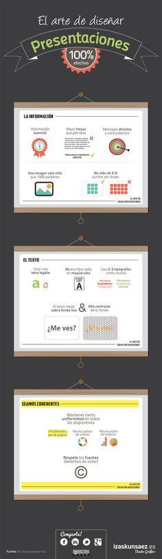 """Hola: Compartimos una infografía sobre """"Presentaciones Efectivas - El Arte de Diseñarlas"""". Un gran saludo.  Fuente: izaskunsaez.es  Enlaces de interés: 10 Herramientas En Línea para Cre..."""