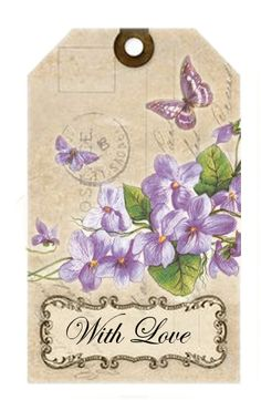 Gift tag / label with violets that says For You. Photo only - I don't know the source. Vintage Tags, Vintage Labels, Decoupage Vintage, Decoupage Paper, Gift Tags Printable, Printable Paper, Scrapbooking, Scrapbook Paper, Etiquette Vintage