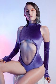 Fantabody For This Summer! Wetsuit, Milan, Bodysuit, Turtle Neck, Swimsuits, Elegant, Arm Sleeves, Pastel Purple, Cute