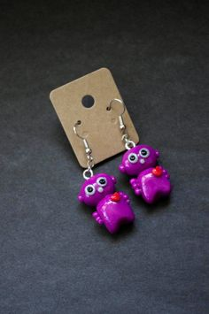 Pink Robot Polymer Clay Earrings Kawaii Clay Robot by Cyclop