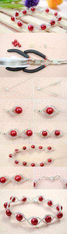 DIY Simple Handmade Beaded Bracelet with Red Pearl and Seed Beads #tutorial #pandahall #bracelet #beadedbracelet