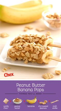 When it comes to after school snacking, there's no better combo than bananas and peanut butter. These Peanut Butter Banana Pops are an easy snack that kids can make on their own. Just skewer a banana half with a craft stick, coat in peanut butter, and roll in crushed Chex and nuts.