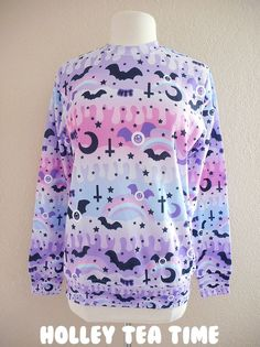 ☆ Magical and cute all over print lightweight crew neck sweater ☆ (◍•ᴗ•◍) ♪ ☆ Sweater is perfect for fairy kei, pop kei, decora kei and pastel goth and fashion styles. ☆ This item is a made to order sweatshirt. The sweater will be manufactured printed, cut and sewn in the factory and then w...