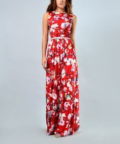 Look at this Lila Kass Red Floral V-Detail Belted Maxi Dress - Plus Too on #zulily today!
