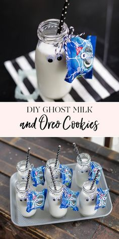 DIY Ghost Milk and Oreo Cookies | We're getting the Halloween party started early this year! I'm always on the look out for fun snacks for my kids so I was thrilled to find these Glow-in-the-dark OREO packs. Paired with a cute glass jar of milk, you have the perfect Halloween snack! || JennyCookies.com Halloween Snacks For Kids, Halloween Party Decor, Halloween Treats, Halloween Fun, Halloween Cookies, Milk Cookies, Fun Cookies, Oreo Cookies, Jenny Cookies