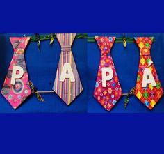 9 ideas para hacer y regalar este día del padre.: Una guirnalda con corbatas.