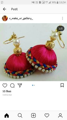 Silk Thread Earrings Designs, Silk Thread Jhumkas, Silk Thread Bangles Design, Silk Thread Necklace, Silk Bangles, Beaded Necklace Patterns, Jewelry Patterns, Jewellery Diy, Thread Jewellery