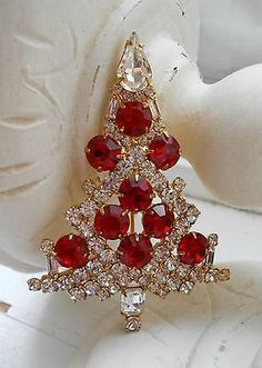 Eisenberg Ice Brooch: Christmas Tree - Red and Clear Rhinestones