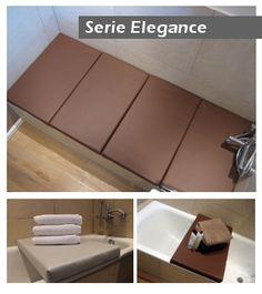 Badewannenabdeckung oder Badewannenbrücke. In dieser Serie wirkt hochwertiges Kunstleder in eleganter Form. So wird Ihre Wanne zur Liege-, Sitzfläche, Ablage oder Wäschekorb.