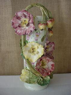 antique Barbotine hand painted applied flower vase--How I do LOVE this! Vase Centerpieces, Vases Decor, Art Nouveau, Flower Vases, Orchid Vase, Art Flowers, Clay Vase, Wooden Vase, Clear Glass Vases