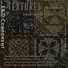 [SCP001] 20 Old-Fashioned Carved Stone Panel Textures from E&D ENGINEERING
