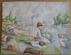 """Seurat : Bagnanti ad Asnières"" (2015)- copia dell'opera ""Une baignade à Asnières"" (1884) di Georges Seurat (1859-1891). Decorazione a secondo fuoco su biscotto  ""Seurat : Bathers at Asnières"" (2015) - copy of the work ""Une baignade à Asnières"" (1884) by Georges Seurat (1859-1891) Decoration made with second firing colours on pottery."
