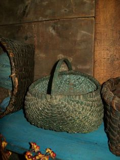 Early Country Antiques...old green egg basket.