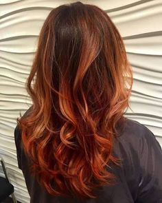 Image result for brunette to copper balayage