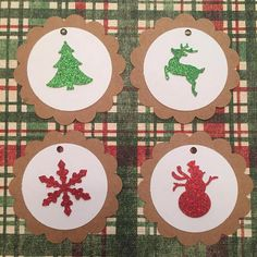 25 Tags Scallop Gift Tags craft green and red christmas
