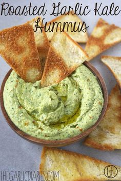 Roasted Garlic Kale Hummus -- Best hummus EVER! Gluten free, vegan TheGarlicDiaries.com