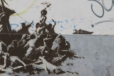 Banksy. We are not all in the same boat. Calais, France