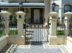 6 Admired ideas: Fence Gate Hinges cheap fence for dogs.Wire Fence Painting house fence home. Wrought Iron Security Doors, Wrought Iron Fences, Concrete Fence, Bamboo Fence, Cedar Fence, Front Yard Fence, Fenced In Yard, Small Fence, Horizontal Fence