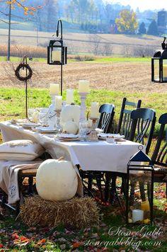 Thanksgiving in the field. Beautiful ideas! stonegableblog.com