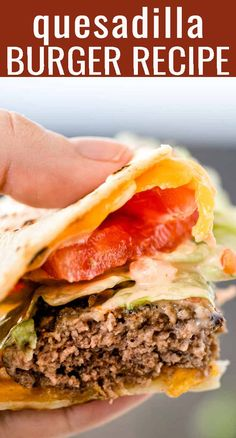 This is our healthier copycat version of our favorite burger at Applebee's.the Quesadilla Burger! An easy sandwich with endless combinations for your summer picnics. Easy Meat Recipes, Hamburger Meat Recipes, Beef Recipes For Dinner, Burger Recipes, Ground Beef Recipes, Grilling Recipes, Mexican Food Recipes, Cooking Recipes, Mexican Dinners