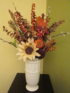 Fall Floral Arrangement, Fall Décor, Fall Harvest, Autumn Floral, Autumn Décor, Thanksgiving Décor, Sunflower, Dried Fruit, Pumpkin by SilvaLiningDesigns on Etsy