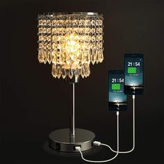 New Silver Crystal Bedside Table Lamp Dual USB Charging Port, Acaxin Nightstand Lamp Elegant Shade, Decorative Desk Lamp Bedrooms/Living Room/Dining Room/Kitchen online - Thepopbeautiful Bedside Table Lamps, Living Room Decor Lights, Lamp, Crystal Table Lamps, Desk Lamps Bedroom, Bedside Night Stands, Coffee Table Lamp, Bedside Desk Lamps, Nightstand Lamp