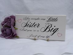 Sister Sign, Wooden Plaque, Little Sister, Big Part of Life, Love, Hearts, Painted, Sister Plaque,Sister Gift, Sister Birthday, 215 by SKPRODUCTS1 on Etsy