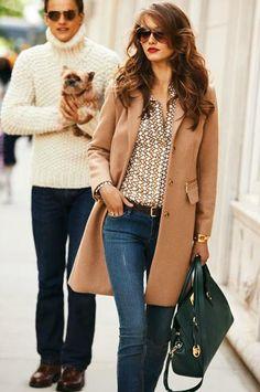 MICHAEL Michael Kors Reefer Coat, Chain-Print Satin Blouse, Skinny Zipper-Cuff Jeans & Astrid Large Satchel