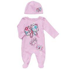 Koala Baby Girls' 2 Piece Light Purple Butterfly Footie and Hat Layette Set