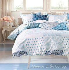SEASIDE COTTAGE BEACH HOUSE AQUA BLUE TEAL PATCHWORK COASTAL DUVET SET - FULL / QUEEN