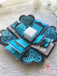 Blue Explosion box perfect gift for Birthday, Anniversary, Valentines Day, love photo box, explosion photo box, valentines day gift by DreamCraftbyLucy on Etsy