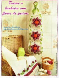 Tecendo Artes em Crochet: Borboletas em fuxico e Fuxico no Banheiro