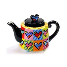 "Romero Britto ""Hearts"" Teapot Large 48 oz Size 333305 New Ceramic Teapots, Ceramic Art, Teapot Design, Teapots Unique, Cafetiere, Tea Pot Set, Ceramics Projects, Teapots And Cups, Chocolate Pots"